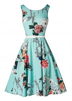 Vintage 50s Style Floral Sleeveless Swing Dress