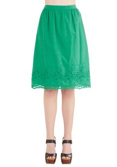 Eyelet of the Storm Skirt. Todays fashion forecast reads classy with a chance of radiant thanks to this kelly green skirt! #green #modcloth