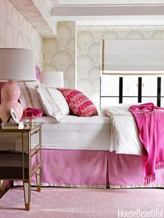 Pink adds soothing femininity to the master bedroom, where a bed skirt and headboard are in Manuel Canovas's Brasilia. The mirrored bedside table from Pottery Barn sparkles against Farrow & Ball's Lotus wallpaper. Interior design by Christina Murphy Pisa. Pink Master Bedroom, Girls Bedroom, Master Bedroom Design, Guest Bedrooms, Home Decor Bedroom, Feminine Bedroom, Shabby Bedroom, Pink Bedrooms, Pretty Bedroom