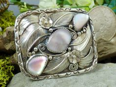 Vtg M. Davis Navajo Sterling Silver & Mother of Pearl Small Rectangular Buckle!!