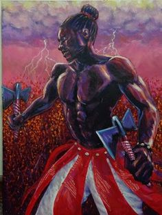 """Artist `Ammar Nsoroma, """"Shango""""  from The 7 African Powers Series  Mixed media (acrylic paint & collage),  2011"""