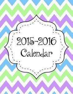 2015-2016 Calendar FREEBIE