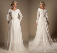2018 A-line Beaded Lace Tulle Modest Wedding Dresses With Long Sleeves Scalloped Neck Buttons Up Back Full Sleeves Long Country Bridal Gowns Plus Size Wedding Dresses Lace Wedding Gown Long Sleeve Wedding Dress Online with $148.58/Piece on Readygogo's Store | DHgate.com #modestweddingdresses