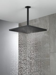 Modern Architecture Discover Delta in. Single Wall Mount Square Fixed Rain Shower Head in Matte Black - The Home Depot Rain Shower Bathroom, Master Shower, Shower Faucet, Rain Shower Heads, Shower Arm, Best Rain Shower Head, Master Bathroom, Rainhead Shower, Ceiling Shower Head