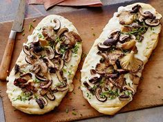 To make Grilled Mushroom Flatbread with Truffled Pecorino, the flatbreads need just two minutes per side on the grill, then load them up with oyster and cremini mushrooms and truffled cheese sauce.