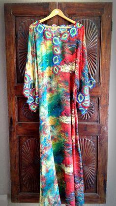 Kaftan chiffon maxi dress resort wear long by ArabianThreads, $170.00 Print Chiffon, Chiffon Fabric, How To Make Shorts, How To Wear, Chiffon Maxi Dress, Maxi Dresses, Sixties Fashion, African Fashion, African Style