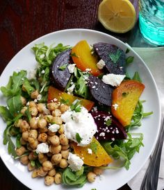 roasted beets and chickpea salad with FETA!