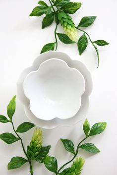 Vintage Pair of Nesting Lotus Bowls / Mid Century White Porcelain Flower Bowls