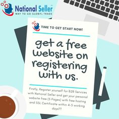 Get a free ***5-page website with free hosting and SSL Certificate*** as a gift from National Seller. We would love to see you grow on our portal. For any additional details contact us: +91-7827532773, Whatsapp: +91-9890383029 or info@nationalseller.com #b2b #business2business #c #marketing #smallbusiness #marketingstrategy #leadgeneration #sales #unswholesale #wholesale #entrepreneur #bmarketing #branding #marketingtips Online Marketplace, Free Website, Lead Generation, Get Started, Certificate, Portal, You Got This, Entrepreneur, Branding