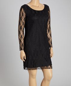 This Black Lace Long-Sleeve Dress - Plus by Star Vixen is perfect! #zulilyfinds