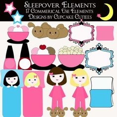 Free Digital Elements and Embellishments | Slumber Party Digital Clipart Elements and Papers Commercial use for ...