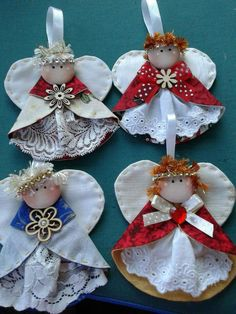 Orange Angel Ornaments U-Pick Trim Color Set of Two Orange and Tan Plaid Paper Ribbon Angel Tree Ornaments Diy Christmas Angel Ornaments, Christmas Nativity, Christmas Angels, Handmade Christmas, Christmas Crafts, Christmas Tree, Angel Crafts, Christmas Projects, Holiday Crafts