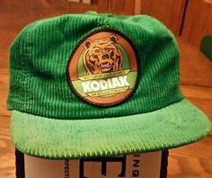 Vintage Kodiak Smokeless Tobacco Wintergreen Green Corduroy Snapback Hat Cap