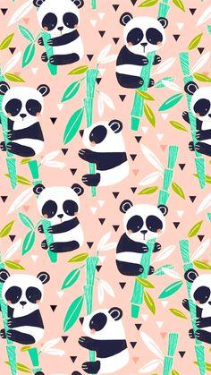 Maude Asbury - Panda Rama - Bamboo in Pink Cute Panda Wallpaper, Wallpaper Iphone Cute, Animal Wallpaper, Wallpaper Backgrounds, Panda Wallpapers, Cute Cartoon Wallpapers, Pretty Wallpapers, Panda Images, Panda Party