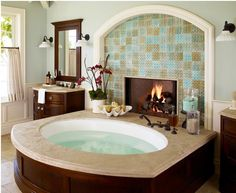 tub and fireplace