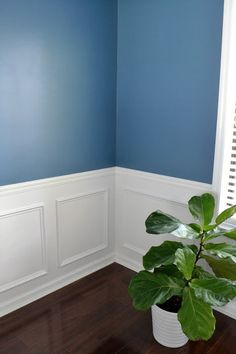New Dining Room with Olympic One Paint in Smoke Blue