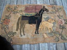 ANTIQUE Primitive FOLK ART HOOKED RUG HORSE AND DOG #Hooked