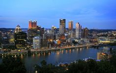 Pittsburgh from Mt Washington. Catching the last light of the day