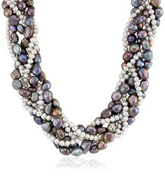 Sterling Silver Freshwater Cultured Pearl Multi-Strand Woven Necklace, 18' ** Click image for more details. (This is an Amazon Affiliate link and I receive a commission for the sales)