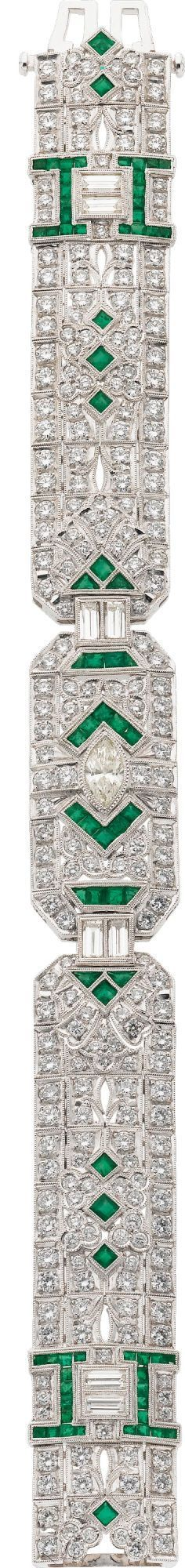 Diamond, Emerald, White Gold Bracelet