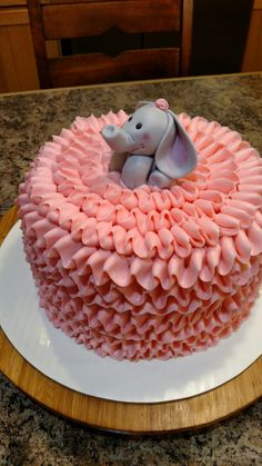Pink ruffle and grey elephant baby shower or birthday cake