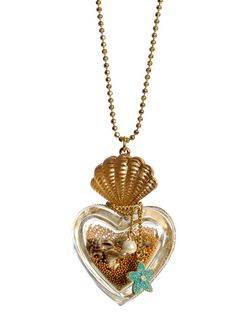 Betsey Johnson - Mermaid's Tale Heart Bottle Necklace, collana con bottiglia con sabbia kawaii WANT WANT Cute Jewelry, Jewelry Box, Jewelry Accessories, Fashion Accessories, Fashion Jewelry, Jewelry Making, Jewlery, 90s Jewelry, Disney Jewelry