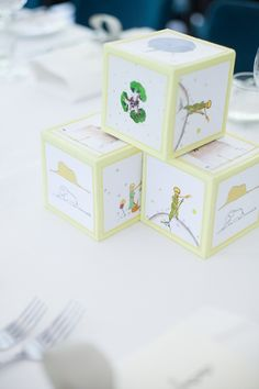Centerpieces from a Little Prince Inspired Baptism Party