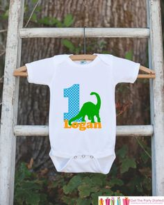 Items similar to First Birthday T-Rex Outfit - Personalized Dino Bodysuit For Boy's Birthday Party - Dinosaur Onepiece Birthday Outfit With Name & Age on Etsy Birthday Party Outfits, Carnival Birthday Parties, Birthday Shirts, Birthday Ideas, Valentines Outfits, Valentines For Kids, Babyshower, New Grandparents, Valentine's Day Outfit