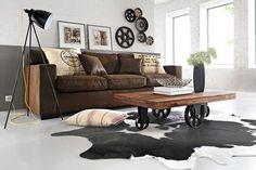 tapis de salon en peau de vache noire