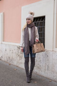Casual Gray & Beige Layers: oversized sweater with gray scarf and pom hat beanie, Stuart Weitzman Highland over-the-knee boot Londra suede, Prada Esplanade City tote, pom beanie hat outfit with oversized sweater