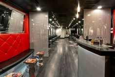 Salons with  Red & White Accent Walls