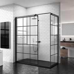 Workshop style italian shower screen in matt black - Salle de bain condo - Black Tile Bathrooms, Small Bathroom, Bad Inspiration, Bathroom Inspiration, Modern Bathroom Design, Bathroom Interior Design, Best Bathroom Vanities, Black Shower, Shower Screen