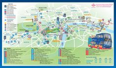 London maps Key bus routes by tourist attractions in central
