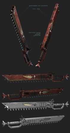 Warhammer Chainsword by Sarayel on DeviantArt Arma Steampunk, Steampunk Weapons, Zombie Weapons, Anime Weapons, Sci Fi Weapons, Steampunk Design, Weapon Concept Art, Warhammer 40k Art, Warhammer Fantasy