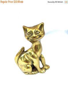 SEPTEMBER SALE Cool cat vintage brass cat figurine solid genuine brass