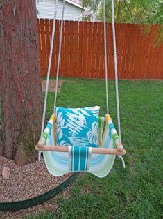 Fantastic DIY Porch and Garden Swing Tutorials for Spring Backyard Swing Sets, Backyard Canopy, Backyard Playground, Porch Swing, Skateboard Deck, Baby Hammock, Backyard Buildings, Diy Porch, Diy Hanging