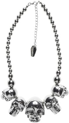 New Kreepsville 666 Skull Collection Necklace Blue Gothic