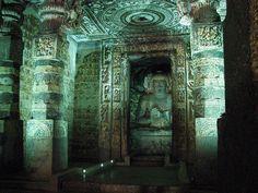Techo de templo budista de Ajanta,India