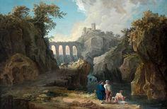 Hubert Robert (Paris, 1733 - 1808), Paysage au pont animé de personnages - Alain.R.Truong