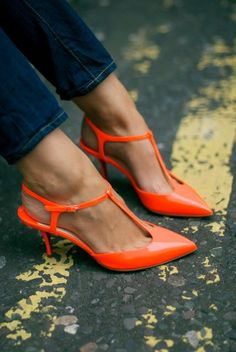Neon orange low-heel shoes. Stylish.