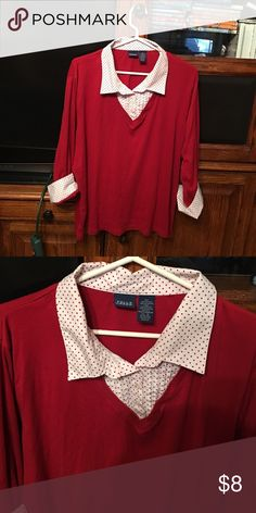 Lightweight red sweater. This is a lightweight V neck red sweater that has a faux button down blouse of white with red polka dots.  The front of the blouse has attractive pleating.  It is in very good condition. Falls Creek Sweaters V-Necks