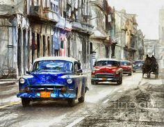 Street blue old car composition drawing by Daliana Pacuraru