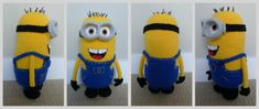 """Pattern: Despicable Me Minion Who doesn't love the minions from """"Despicable Me""""? Make your very own detailed minion with removable goggles and removable overalls with my free crochet. Minion Crochet Patterns, Minion Pattern, Amigurumi Patterns, Knitting Patterns, Crochet Gratis, Crochet Amigurumi, Crochet Dolls, Amigurumi Doll, Love Crochet"""
