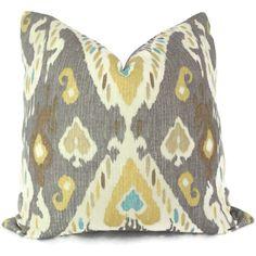 Yellow and Gray Ikat Decorative Pillow Cover, 18x18 20x20, 22x22 Accent Pillow, Throw Pillow, Toss Pillow. $48.00, via Etsy.