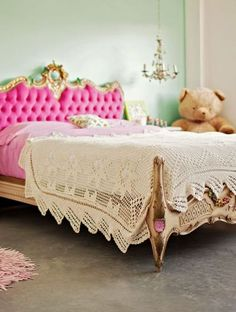 such an adorable pink bed for a little girl