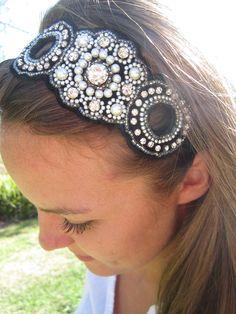 Black Beaded Headband.