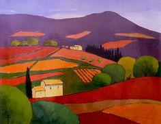 ***Great colorful oil @ the Westport River Gallery showing almost purple looking mountains.  Le Violet de Montagne, 23.5x29 http://www.westportrivergallery.com/estivalet-elizabeth-impressionistic-earth-tones.html