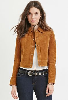 Genuine Suede Jacket - Bring On The Cold Brown Suede Jacket, Leather Jacket, Dress Shirts For Women, Clothes For Women, Blouse Dress, Shirt Sleeves, Suede Leather, Forever 21, Sacks
