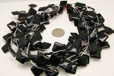 1strand  black agate plain square sized 15 by 15mm by 3yes on Etsy