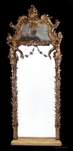 An Impressive Rococo Style Giltwood and Painted Trumeau Mirror (c. 1890 France)